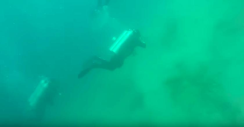 video, temblor, debajo del agua