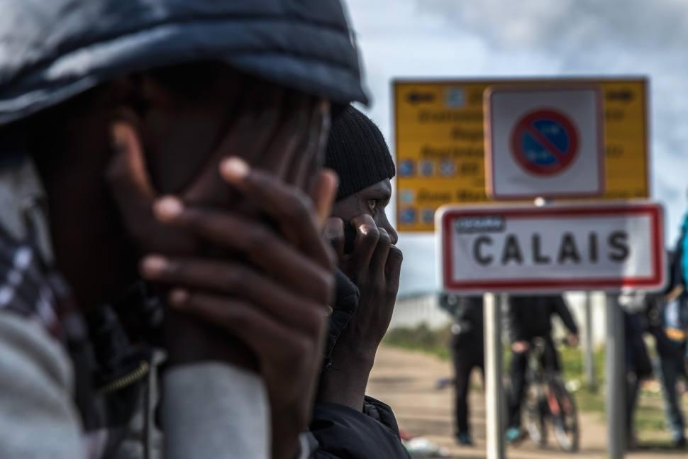 Migrantes en Calais, Francia.