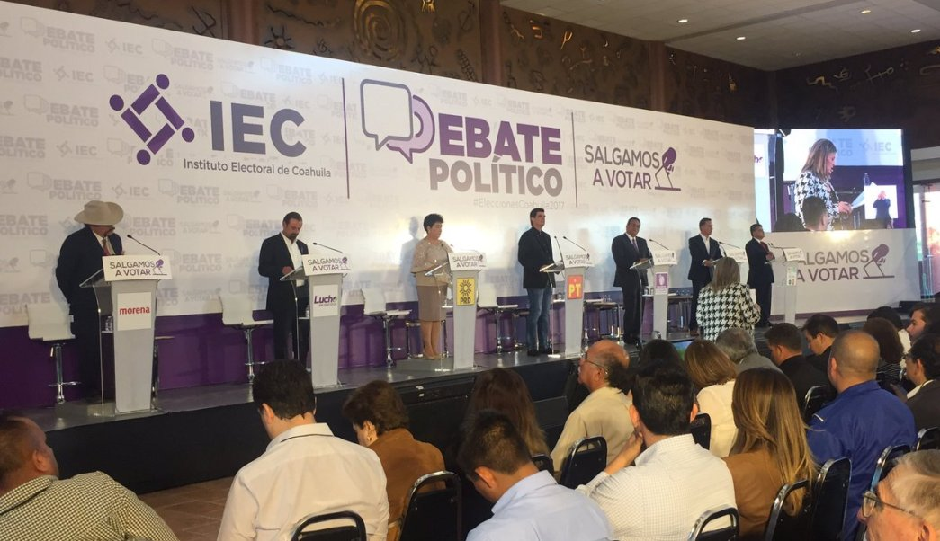 Candidatos a la gubernatura de Coahuila participan en primer debate.(Twitter @IECoahuila)