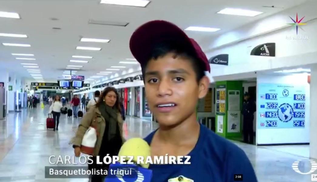 Carlos López Ramírez, basquetbolista triqui. (Noticieros Televisa)
