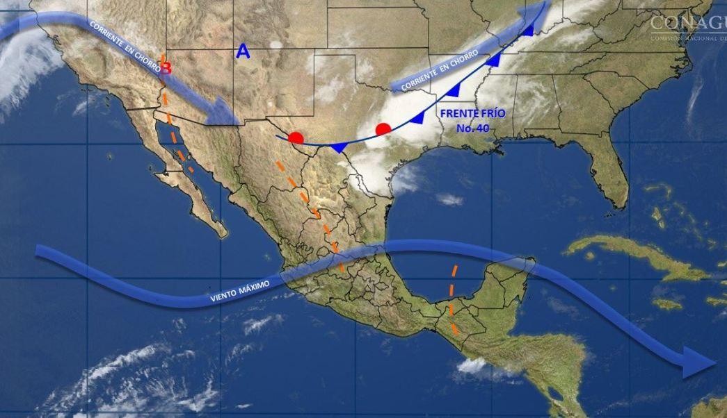 Mapa con el pronóstico del clima para este 11 de abril; frente frío 40 provocará lluvias en gran parte de México. (SMN)