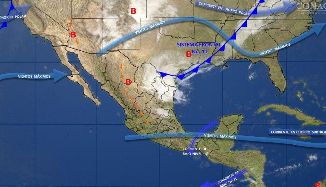 Mapa con el pronóstico del clima para este 12 de abril; frente frío 40 provocará lluvias en gran parte de México. (SMN)