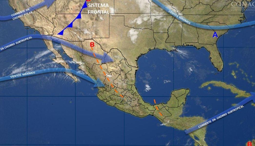 Mapa con el pronóstico del clima para este 14 de abril; nuevo frente frío provocará vientos fuertes en México. (SMN)