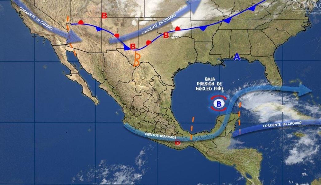 Mapa con el pronóstico del clima para este 21 de abril; prevén tormentas en el sureste del país. (Noticieros Televisa)