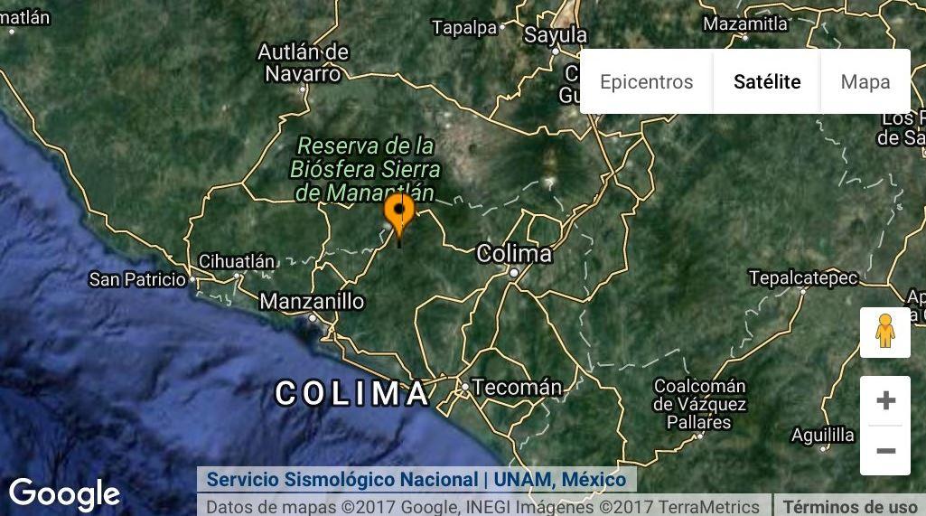 El epicentro se registró a 12 kilómetros de Coquimatlán (Twitter @chematierra)