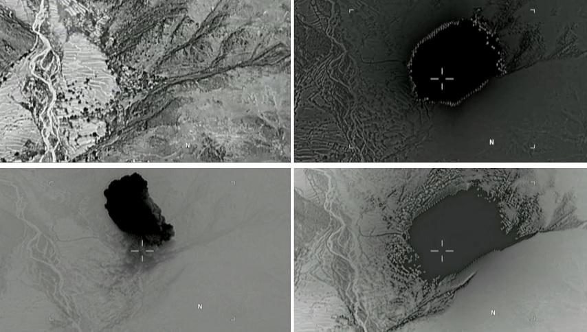 """Una combinación de imágenes fijas muestra la explosión de la """"madre de todas las bombas"""" en Agfanistán (Reuters)"""