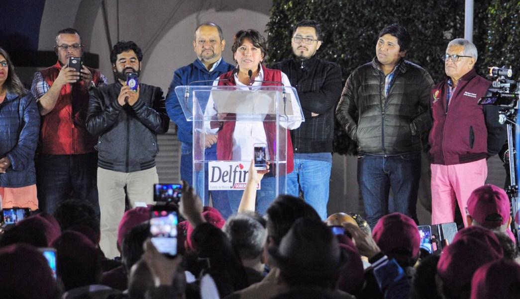 Delfina Gómez arranca campaña en Texcoco, Edomex. (Notimex)