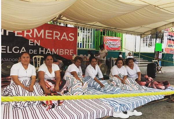 Se cumplen cuatro días de la huelga de hambre que mantienen 6 enfermeras del Hospital de la Mujer. (Twitter @juanelo_28)