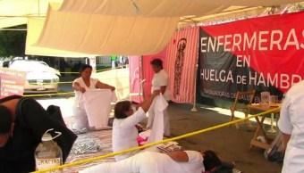 Un grupo de enfermeras del Hospital de la Mujer Doctor Rafael Pascacio Gamboa mantienen una huelga de hambre. (Noticieros Televisa)