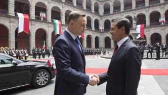 El presidente Enrique Peña Nieto recibió en Palacio Nacional a Andrzej Duda, presidente de la República de Polonia, quien realiza una visita de Estado a México. (Presidencia de la República)