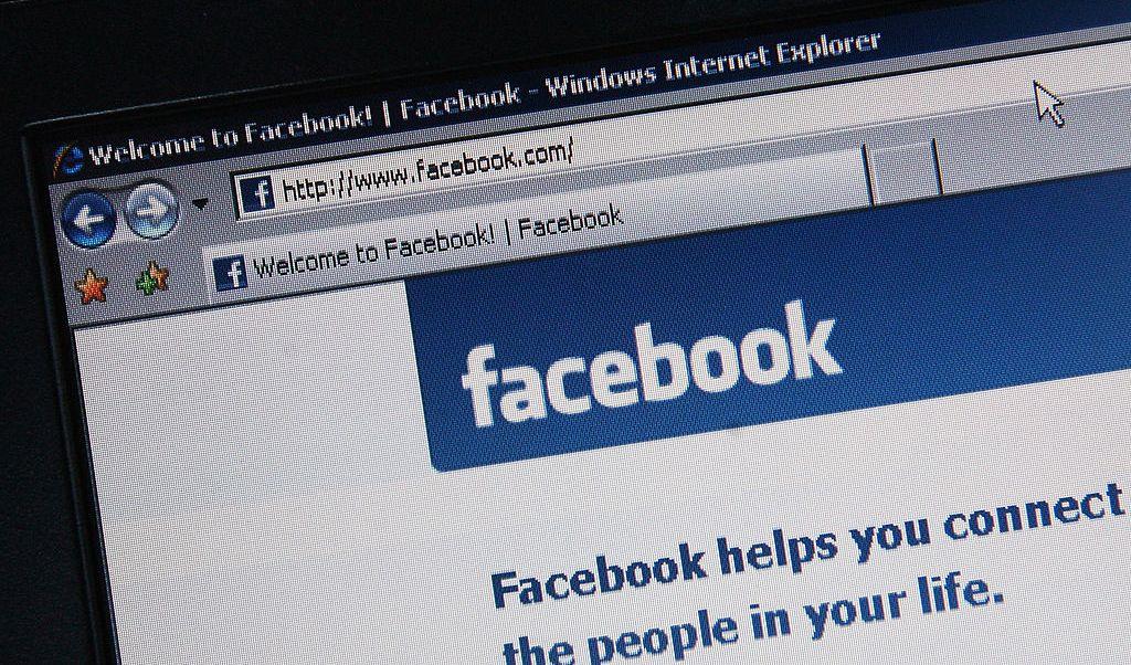 Portal de Facebook desplegado en internet