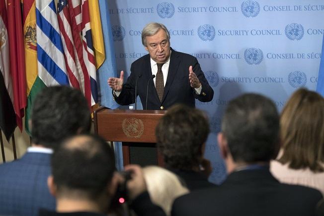 António Guterres habla con reporteros en la sede de Naciones Unidas (AP)
