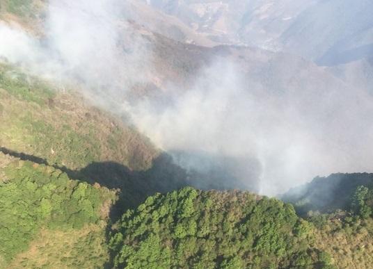 Sobrevuelo del incendio en el municipio La Mision, Hidalgo. (Twitter @CONAFOR)