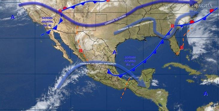 Mapa con el pronóstico del clima para este 24 de abril; el frente frío 41 provocará lluvias en el sureste de México. (SMN)
