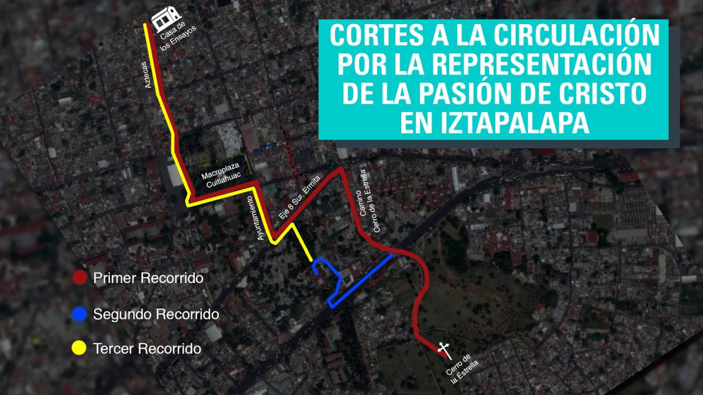 Los cortes se harán a partir de las 17:00 horas, cuando comiencen las actividades de la 174 Representación de la Semana Santa. (Noticieros Televisa)