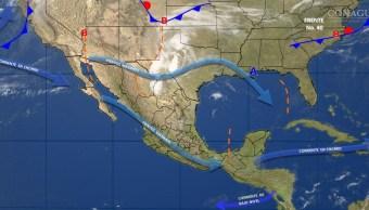 Mapa con el pronóstico del clima para este 13 de abril; nuevo frente frío provocará vientos fuertes en el noroeste y norte de México. (SMN)