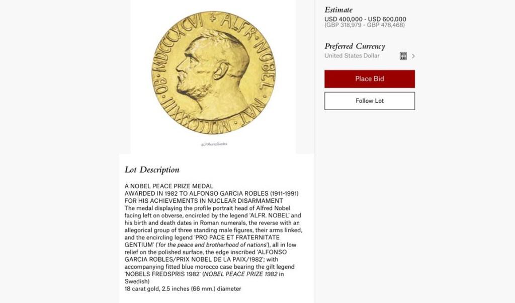 La medalla se vendió por 487,500 dólares. (@JPAlvarezGuedea)