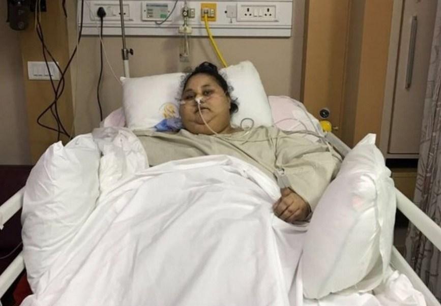 Eman Ahmed, la mujer egipcia que llegó a India en febrero para recibir tratamiento, perdió 242 kilos (Twitter @swahilitimes)