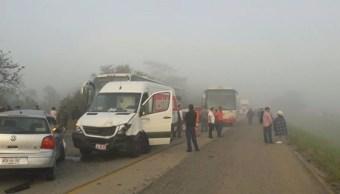 Neblina provoca carambola en Tabasco y muere una persona. (Noticieros Televisa)