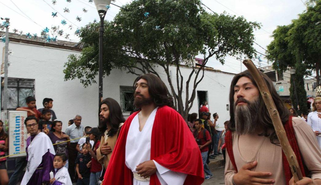 Más de mil policías resguardaron la zona de la representación de la Pasión de Cristo. (Notimex)