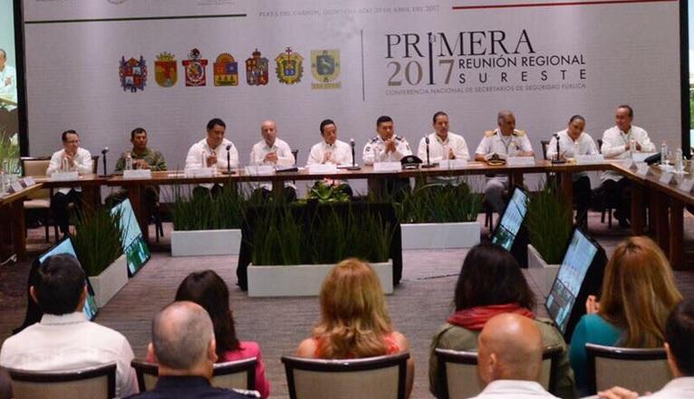 Primera Reunión Zona Sureste de la Conferencia Regional de Secretarios de Seguridad Pública. (Twitter @SSP_QROO)
