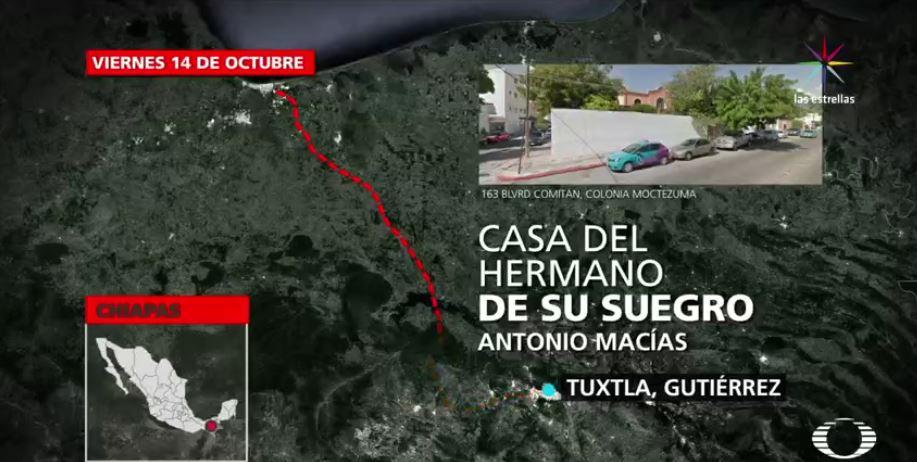 Ruta de escape de Javier Duarte. Visista en casa del hermano de su suegro. (Noticieros Televisa)