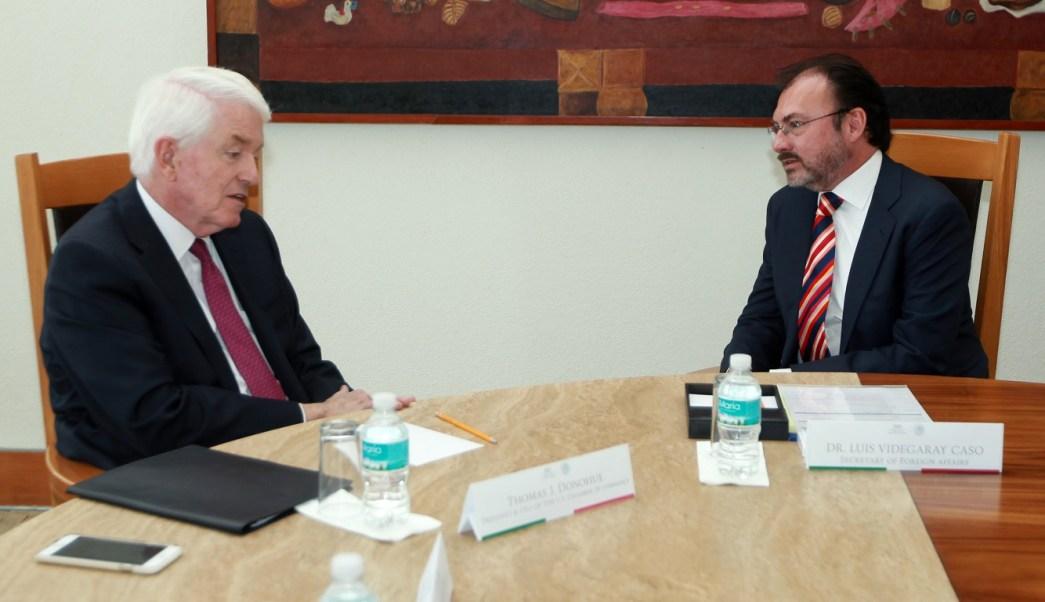 Luis Videgaray y Thomas Donohue destacaron que el TLCAN ha tenido un efecto positivo en las economías de México, EU y Canadá. (SRE)