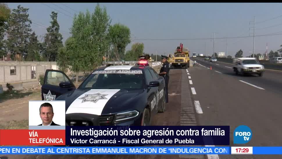 fiscal de Puebla, vehículo robado, familia, autopista, huachicoleros
