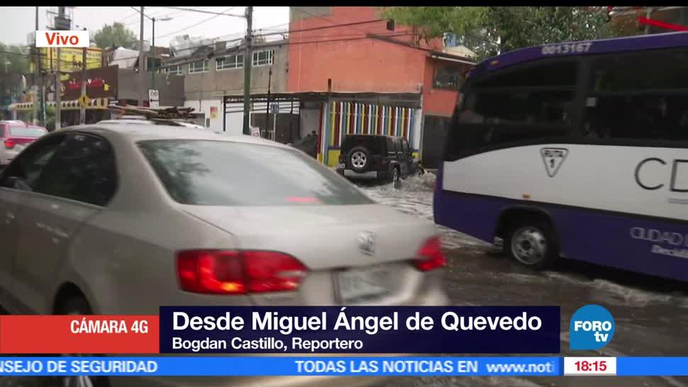 noticias, televisa news, registran, encharcamientos, Miguel angel de Quevedo, lluvias