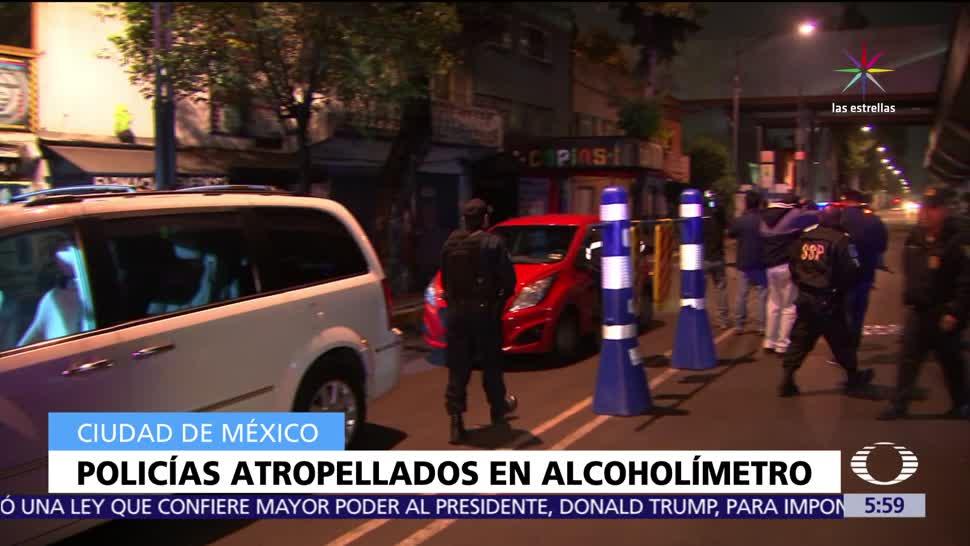 conductor, Atropellan, policías, alcoholímetro