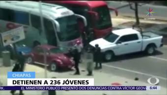 Arrestan, 236 presunto sestudiantes, Fiscalía de Chiapas, vandalismo