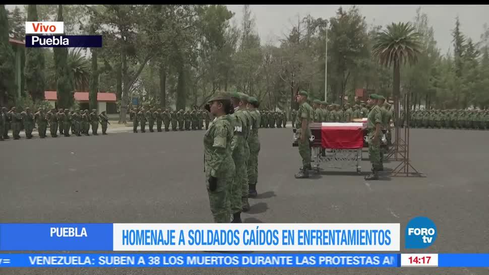 Homenaje, Soldados, Caídos, Enfrentamientos, Huachicoleros, Puebla