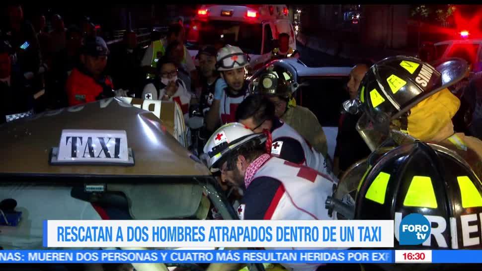 Bomberos, Rescatan, taxi chocado, Choque automovilístico, Periférico y Conscripto, Taxi
