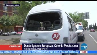 Choque, calzada Zaragoza, 3 lesionados, unidad de transporte público