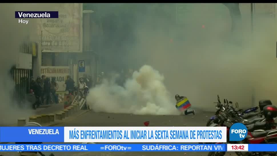 Sexta semana, protestas, Venezuela, nuevos enfrentamientos