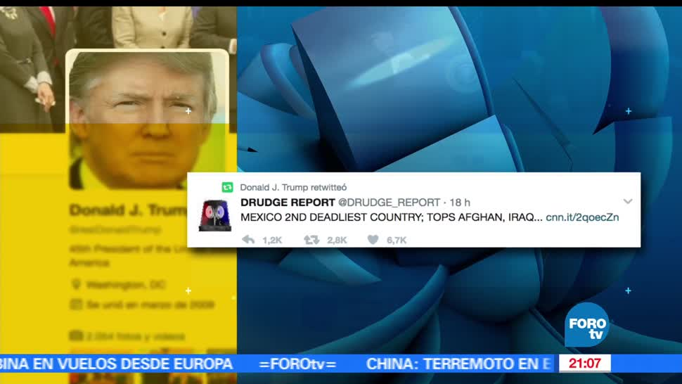 Segob, rechaza, nota, sobre, violencia, retuiteada por Trump