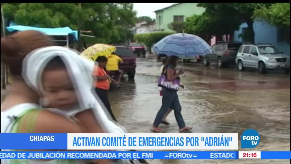 Activan, comité de emergencia, Chiapas, presencia, Tormenta tropical, Adrián