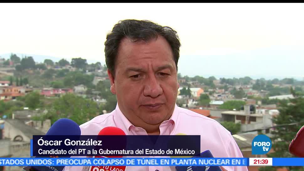 Oscar González Yáñez, visita, Michoacán, Eleccion, Estado de México, Candidato gubernatura del PT