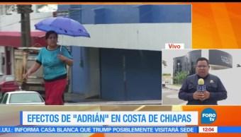 tormenta Adrián, baja remanente, zona Soconusco, lluvias