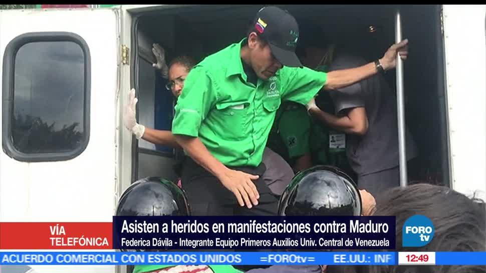 Federica Dávila, primeros auxilios, Universidad Central de Venezuela, manifestaciones