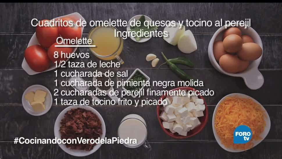 chef Verónica de la Piedra, receta, cuadritos de omelette, tocino al perejil
