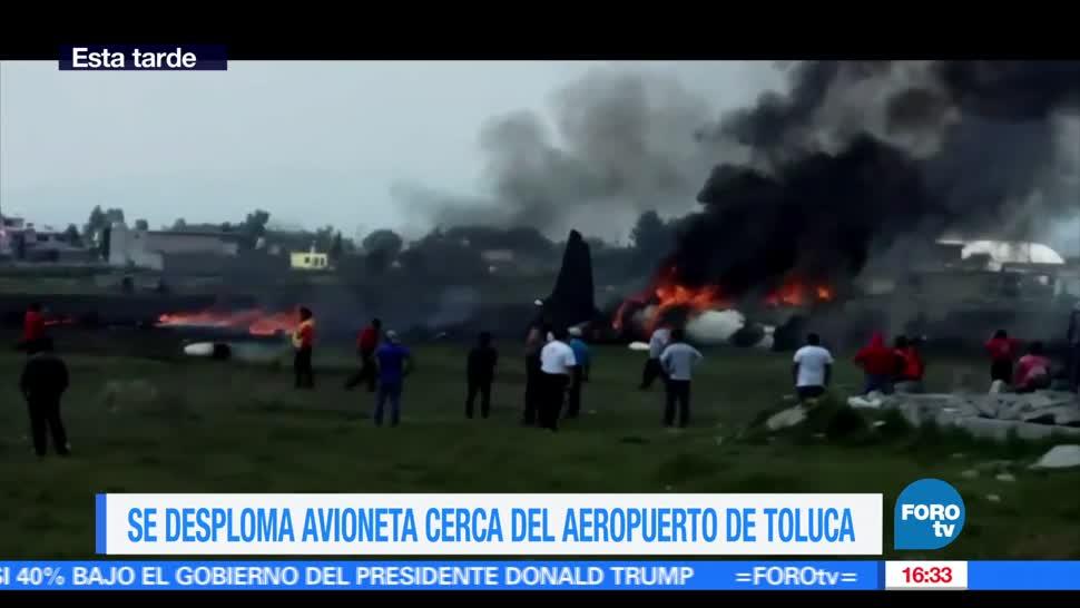 noticias, FOROtv, Desploma, avioneta, Aeropuerto de Toluca, desplome de una avioneta