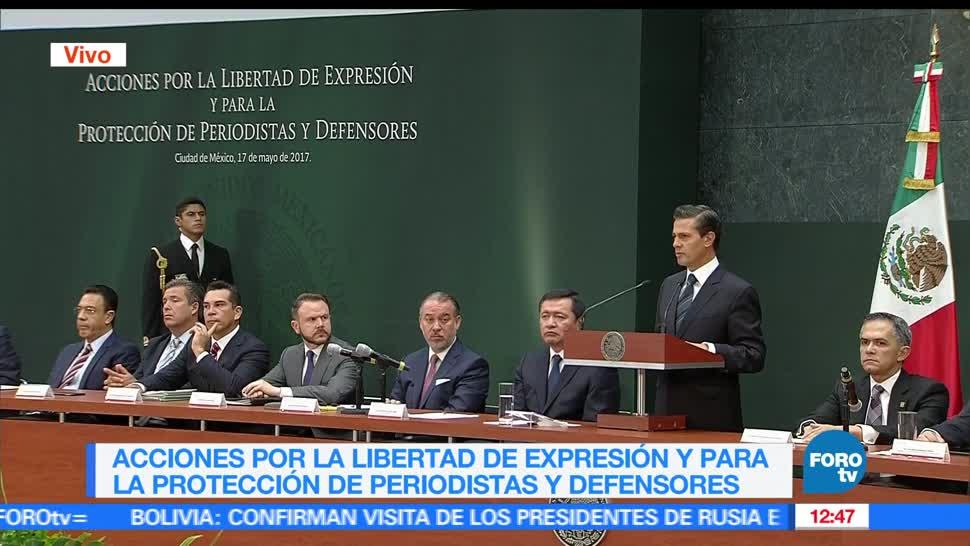 presidente Enrique Peña Nieto, libertad de expresión, protección de periodistas, encabeza reunión