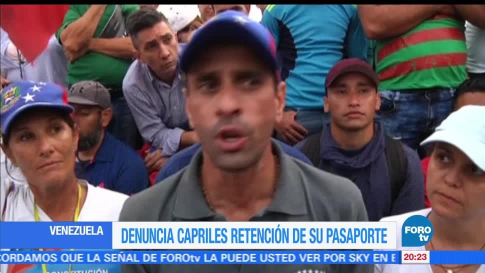 Capriles, denuncia, retención, pasaporte, lider opositor de venezuela, nueva york