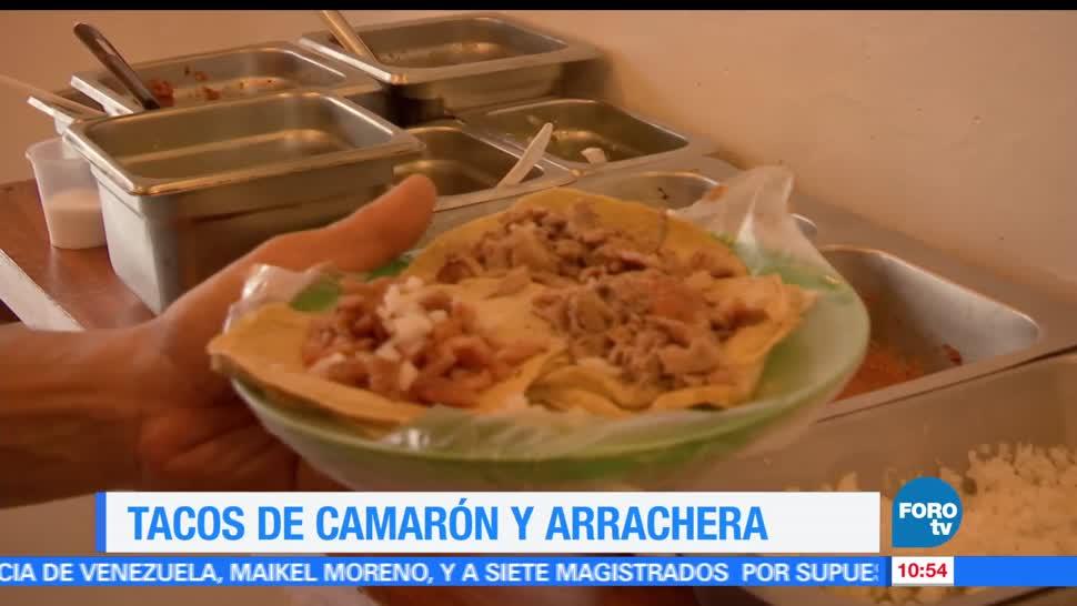 Viernes culinario, Enrique Muñoz, Tacos camarón, arrachera tocino y cebolla