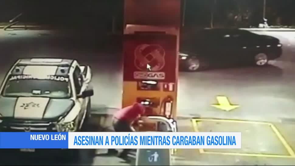 video, gasolinería, Asesinan, policías, cargaban gasolina, Nuevo León