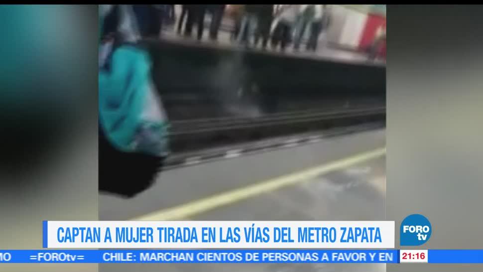 Mujer, cae, vías del metro, CDMX, l+ínea 3, metro zapata