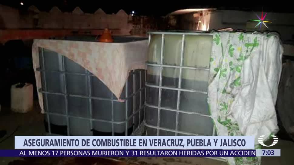 Aseguran, litros de combustible robado, operativos, Veracruz, Puebla, Jalisco