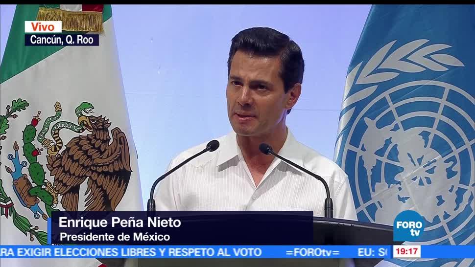 Destaca, EPN, acciones de México, prevenir, riesgos, desastres naturales