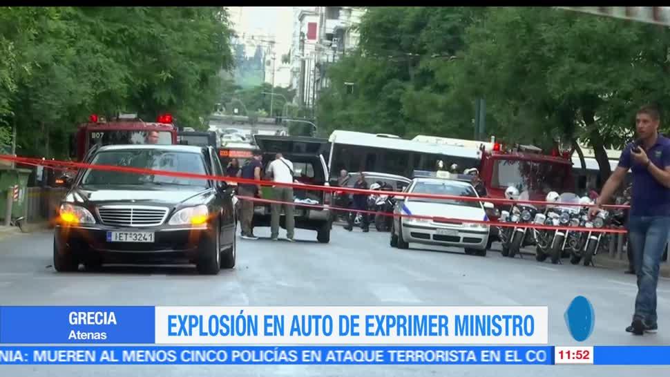 ex primer Ministro de Grecia, Lucas Papademos, explosión en su auto, Atenas, heridas